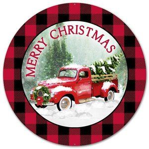 "12"" Metal Vintage Truck Merry Christmas Sign"